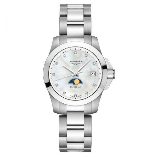 Longines Conquest Mondphase Perlmutt-Zifferblatt mit Diamanten 34mm Damenuhr Quarz L3.381.4.87.6