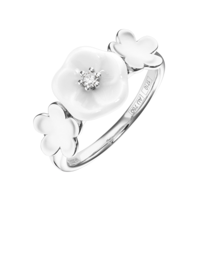 Meissen Porzellan Weißgold Damenring 3 Blüten MPJ10BL28600