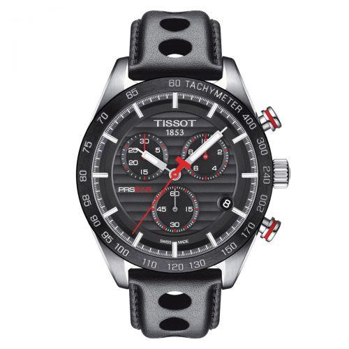 Tissot PRS 516 Chronograph Herrenuhr 42mm Schwarz Leder-Armband Quarz T100.417.16.051.00