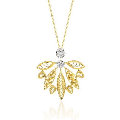 Luisa Rosas Anhänger & Kette Gold mit Diamanten House of Filigree HCO5515.AA