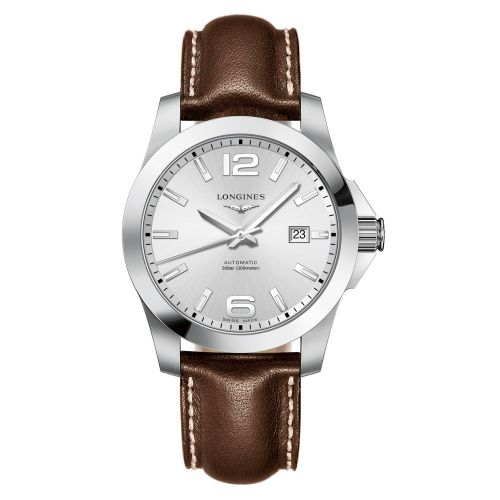 Longines Conquest Automatik 41mm Silbern mit braunem Leder-Armband Herrenuhr L3.777.4.76.5