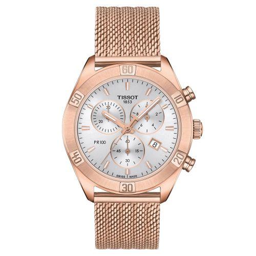 Tissot PR 100 Sport Chic Chronograph Rosegold Damenuhr Quarz 38mm Milanaise-Armband T101.917.33.031.00