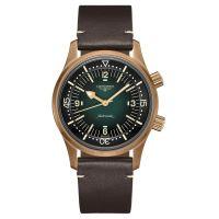 Longines Legend Diver Bronze Grün 42mm Leder-Armband Heritage Automatik Herrenuhr L37741502