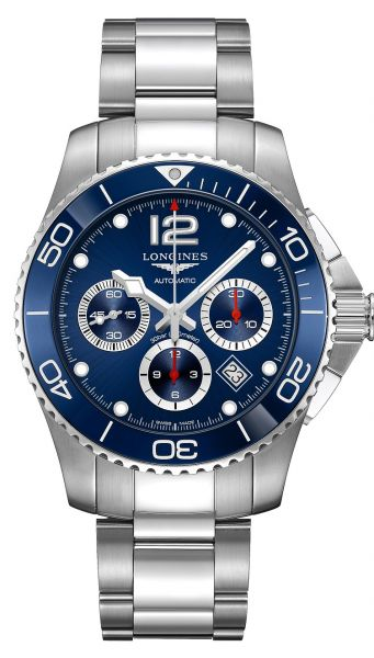 Longines HydroConquest Chronograph 43mm Automatic Blau Edelstahl-Armband L3.883.4.96.6 | Uhren-Lounge