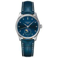 Longines Master Collection Damenuhr Blau mit Diamanten Mondphase Automatik Leder-Band L2.409.4.97.0