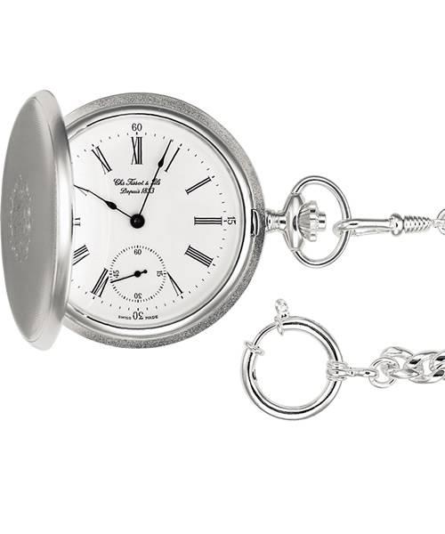 Tissot Taschenuhr aus Silber mit weißem Zifferblatt, römischen Ziffern und Handaufzug Savonnette Mechanical T83.1.452.13