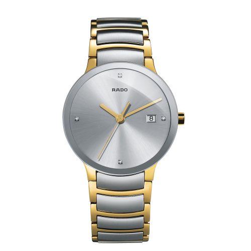 Rado Centrix Diamonds Herrenuhr Silber Gold Bicolor Edelstahl-Armband 38mm Quarz R30931713
