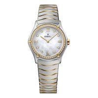 Ebel Sport Classic Lady Damenuhr mit Diamanten Bicolor Perlmutt Zifferblatt weiß Edelstahl-Armband 1216390A | Uhren-Lounge