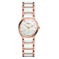 Rado Centrix Diamonds XS Damenuhr mit Diamanten Rosegold Weiß Perlmutt 23mm Quarz R30186912 | Uhren-Lounge