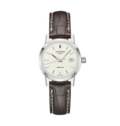 Longines 1832 Damenuhr Automatik mit beigem Zifferblatt & braunem Leder-Armband 30mm L4.325.4.92.2 | Uhren-Lounge