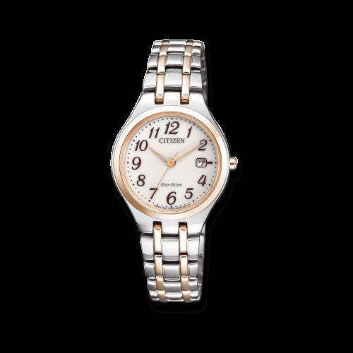 Citizen Uhr Damen Bicolor Silber Gold mit weißem Zifferblatt & Eco Drive Elegance EW2486-87A