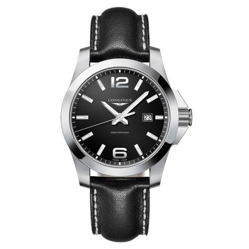 Longines Conquest Quarz 43mm Schwarz Leder-Armband Herrenuhr L3.760.4.56.3