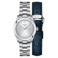 Tissot T-My Lady Silbern mit Edelstahl- & blauem Leder-Armband Damenuhr Quarz 29 mm T1320101103100