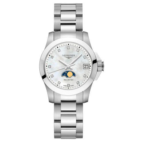 Longines Conquest Mondphase Perlmutt-Zifferblatt mit Diamanten 29,5mm Damenuhr Quarz L33804876