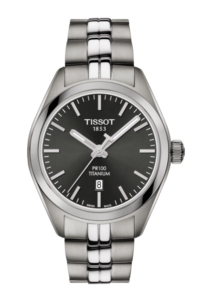 Tissot PR 100 Quarz Titanium Damenuhr 33mm mit anthrazitfarbenen Zifferblatt T101.210.44.061.00