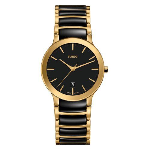 Rado Centrix Damenuhr S Schwarz Gold Bicolor Keramik-Armband 28mm Quarz R30528172