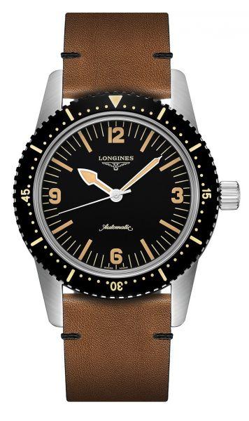 Longines Heritage Skin-Diver Automatic Herrenuhr 42mm schwarz mit Leder-Armband braun L2.822.4.56.2 günstig online kaufen | Uhren-Lounge