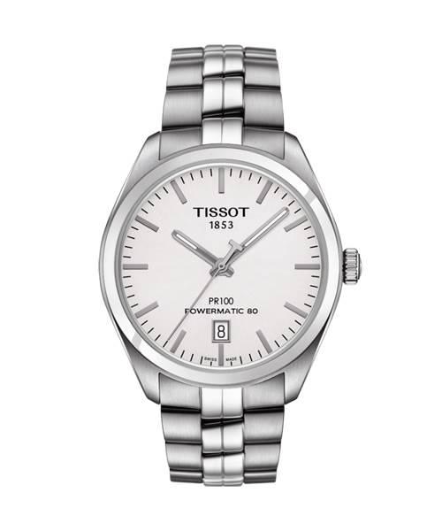 Tissot PR 100 Powermatic 80 Automatic Herrenuhr mit Silberfarbenen Zifferblatt T101.407.11.031.00