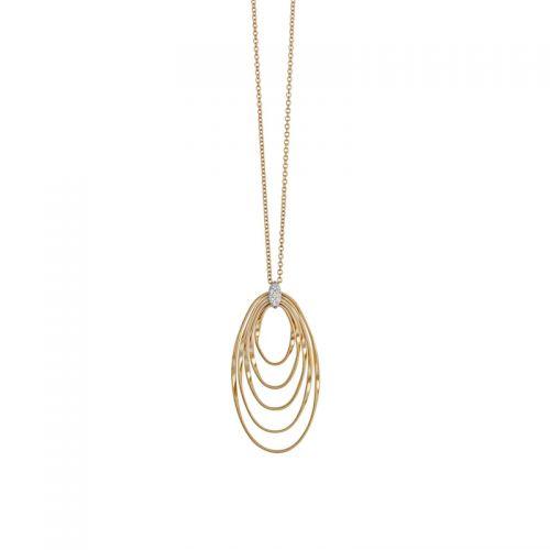 Marco Bicego Marrakech Onde Anhänger mit Kette Gold & Diamanten 5 konzentrische Ringe CG788-B