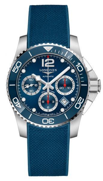 Longines HydroConquest Chronograph 41mm Automatik Blau Kautschuk-Armband L3.783.4.96.9 | Uhren-Lounge