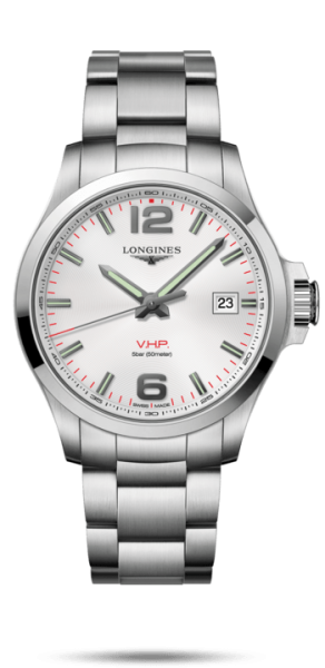 Longines Conquest V.H.P. Herren Armbanduhr 43mm mit Weißen Zifferblatt L3.726.4.76.6