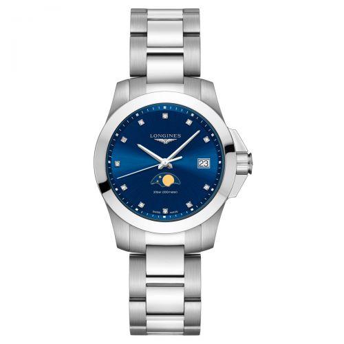 Longines Conquest Mondphase Damenuhr 34mm Blau mit Diamanten Edelstahl-Armband Quarz L3.381.4.97.6
