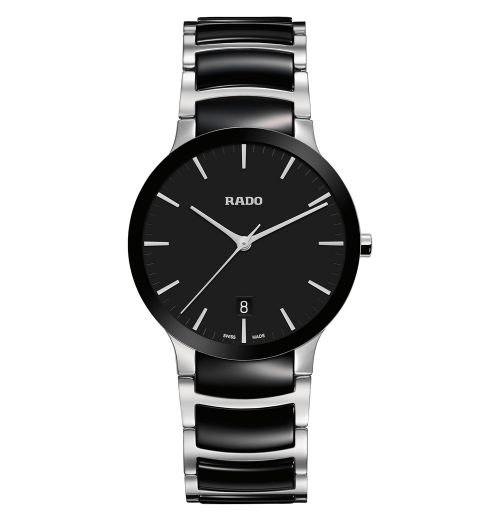 Rado Centrix L Herrenuhr Silber mit schwarzem Zifferblatt & Keramik-Armband 38mm Quarz R30934172