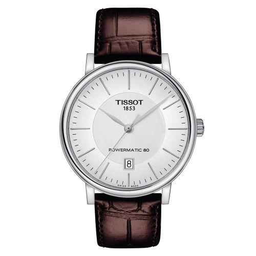 Tissot Carson Premium Automatik Herrenuhr Silber Leder-Armband Powermatic 80 40mm T122.407.16.031.00