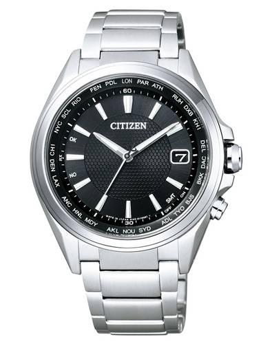Citizen Funkuhr Weltzeit Super Titanium Herren mit schwarzem Zifferblatt & Perpetual Calender CB1070-56E