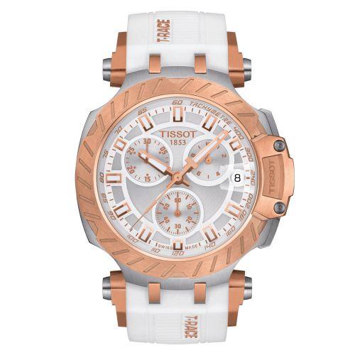 Tissot T-Race Chronograph Weiß Rosegold Kautschuk-Armband Quarz Uhr 43mm T115.417.27.011.01