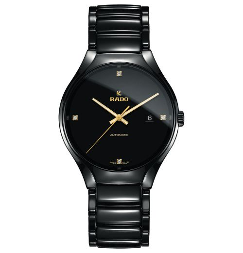 Rado True Diamonds Automatik L Herrenuhr Schwarz Keramik mit Diamanten 40mm Jubile R27056712 | Uhren-Lounge