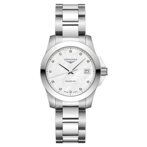 Longines Conquest Damenuhr mit Perlmutt-Zifferblatt & Diamanten Silber 34mm Quarz L3.377.4.87.6
