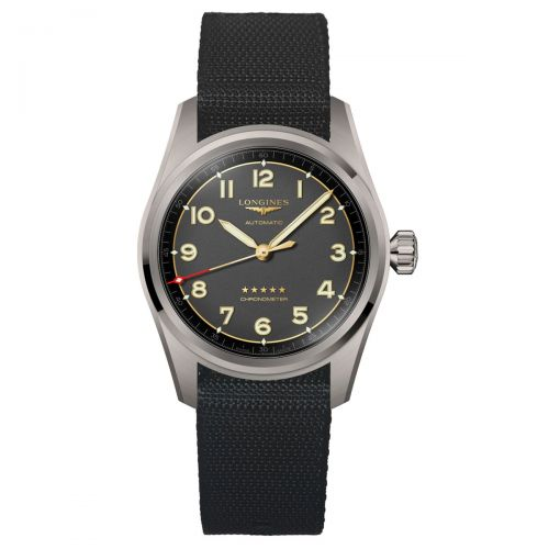 Longines Spirit Titan 40mm Anthrazit Synthetik-Armband Herrenuhr Automatik Chronometer L3.810.1.53.2