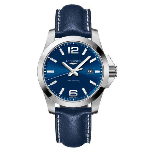 Longines Conquest Quarz 43mm Blau Leder-Armband Herrenuhr L3.760.4.96.0