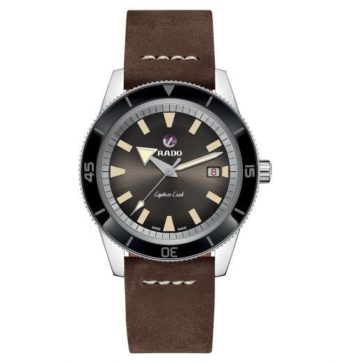 Rado Captain Cook Automatic mit braunem Zifferblatt & Leder-Armband 42mm R32505305