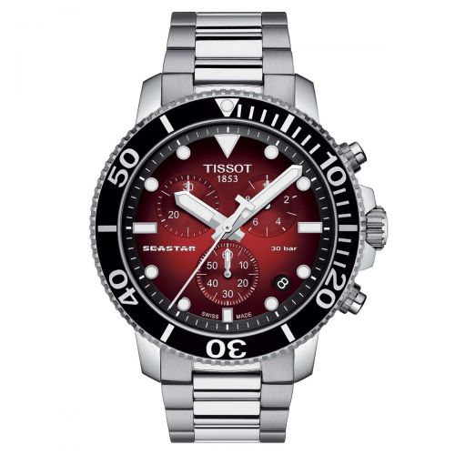 Tissot Seastar 1000 Chronograph Schwarz Rot 45mm Edelstahl-Armband Quarz Herren T120.417.11.421.00