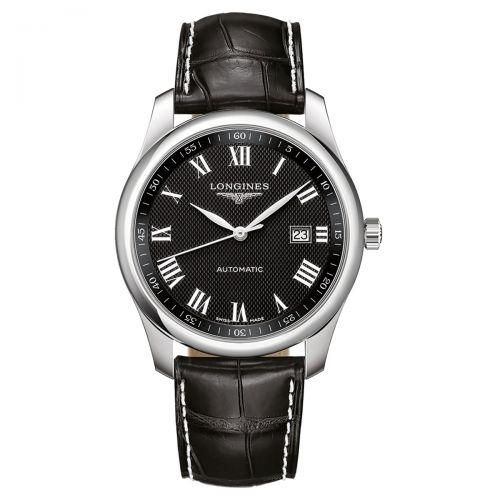 Longines Master Collection Schwarz mit römischen Ziffern Leder-Armband Herrenuhr Automatik 40mm L2.793.4.51.7