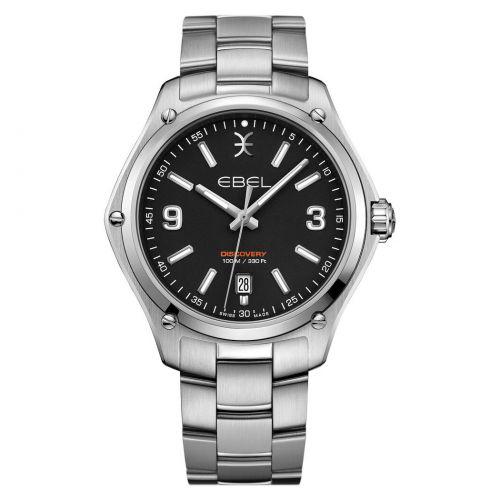 Ebel Uhr Herren 41mm silber mit schwarzem Zifferblatt & Edelstahl-Armband Quarz Ebel Discovery Gent 1216401