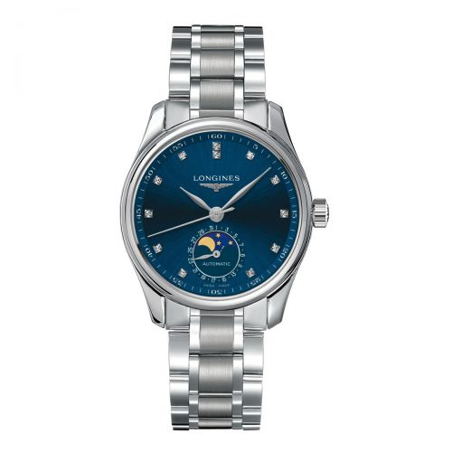 Longines Master Collection Damenuhr Blau mit Diamanten Mondphase Edelstahl Automatik L2.409.4.97.6